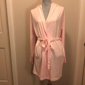 Pink colored hooded robe by Jaclyn Intimates